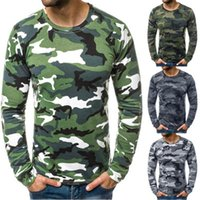 Casual Skinny Tops Tees Spring Male New Slim Folds Tshirt Mens Camouflage Round Neck T-shirt Fashion Trend Long Sleeve