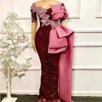 Off the Shoulder Burgundy Evening Dresses 2021 abendkleider Mermaid Prom Dress Women Formal Party Gowns Wear