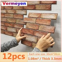 Wall Stickers 12pcs 3D Brick Sticker Self-Adhesive PVC Wallpaper For Bedroom Waterproof Oil-proof Kitchen DIY Home Decor