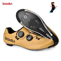 Ciclismo Calzado Boodun Hombres Mujeres Genuine Leather Road Shoes Bike Carbon Sole Ultralight Bicycle Bicycle Racing