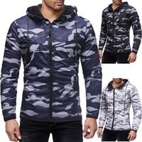 Men's Camouflage Zipper Jackets Pockets Solid Color Hooded Black Casual Sweater Plus Big Size Fashion Coats Slim Fit Fitness Jacket