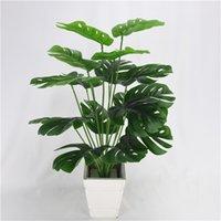 50cm 18Fork 큰 인공 식물 플라스틱 거북이 나무 잎 가짜 몬스터 지점 분재 실내 장식에 대 한 열 대 녹색 식물 715 K2
