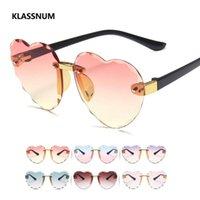 Klassnum Kalp Çerçevesiz Çocuk Güneş Gözlüğü Moda Kalp Şekli Çocuk Güneş Gözlükleri Kız Açık Havada Seyahat UV400 Koruma Gözlük
