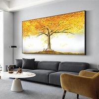 Pinturas Gran tamaño Lienzo Pintura Arte de la pared Árbol de oro Cartel de aceite e impresión para la sala de estar Decoración de la casa Sin marco