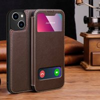 Real leather case for iPhone 13 Pro max, luxury with magnetic cover and window, 11, 12 XR, 6, 7 plus