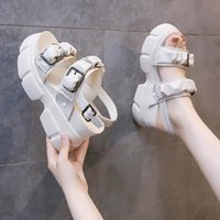Sandals Summer Beach Platform Heel Shoes Women Comfortable Soft Leather Slippers Breathable Open Toe