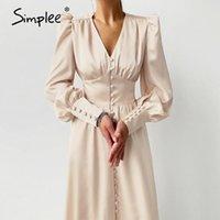 Simple elegante mola cetim bispo manga uma linha vestido mulheres v-pescoço cintura alta botão vestido sólido vintage longos vestidos chique