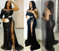 Black Sequins Prom Dresses Long Sleeves Tulle Floor Length Lace Applique High Neck 2022 Illusion Custom Made Plus Size Beaded Side Slit Evening Gown vestidos