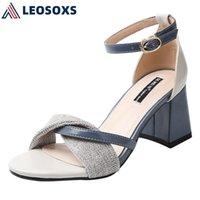 Sandálias Lesoxs 2021 Sapatos de Verão Aberto Saltos Altos Moda Buckle Roma Estilo Mulher Genuine Couro Mulheres L259