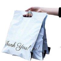 Parsel Paket Çantası Renkli Teşekkürler Baskı Poli Mailer Express Çanta Kolu Ile Plastik Kargo Kendinden Yapışkanlı Express Kılıfı AHA4240