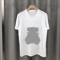 Verão Alta Qualidade Novo Designer de Moda Ao Ar Livre Impressão Bordado Bear Homens e Mulheres Casais Solto Tamanho Grande Manga Curta Marca Camiseta