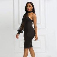 Günlük Elbiseler Seksi Halter Örgü See-throom One-Omuz Uzun kollu Artı Boyutu Parti Elbise Siyah Ince Bodycon Akşam Moda Kadınlar için