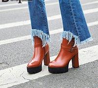 DorataSia 34 43 Nouvelle boucle de la ceinture de mode Dames Haute Talons Bottes de plateforme Femmes Zip Party Office Boots Bottines Chaussures Femme 2020 Z5GV #
