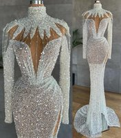 Luxuriou Plus Size Arabic Aso Ebi s Mermaid Prom Dresses Sparkly Beaded Sequined High Split Evening Formal Party Second Reception Gowns