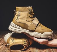 PU Leather Men's Martin Boots Fashion High Top Lace-Up Casual Outdoor Wear-Resisting Male Sneakers Comfortable Walking Shoes