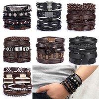 Vintage Multiple Charm Bracelets Set for Men Woman Fashion Wristbands Owl Leaf Leather Bracelet Bangles Jewelry Mens Bracelet