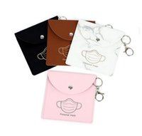 Portable Mask Storage Bags Keychain Reusable Dust Masks Bag Keyring Pendant Fashion PU Leather Car Key Chain Accessories Wholesale