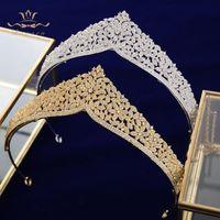 Top Qualität Europäische Bräute Gold Blume Zirkon Haarbänder Kristall Tiara Kronen Hochzeit Haarschmuck Geburtstagsgeschenk