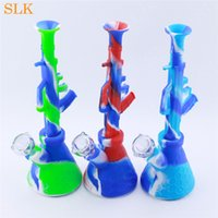 wholesale glass oil burner AK47 bongs water pipes hookah tobacco smoke filter collector silicone bubbler smoking pipe glassbowl accessories 420