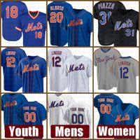 Новый Mens york Trens Mets Youth 12 Francisco Линдор бейсбол Джерси 20 Пит Алонсо пользовательских 48 Якоб Deemom 31 Майк Пьяцца 8 Гэри Картер