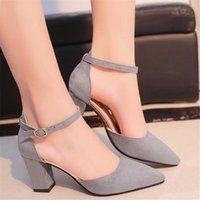 Dress Shoes 2021 Summer High-heeled Pointed Word Buckle Sandals Rough With Women Single Women's Pumps