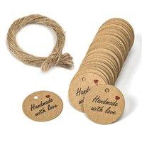 100 unids Kraft Papel Bolsas de regalo Etiquetas Gracias Handmade With Love Hang Tags Candy Dragee Tarjetas de papel de boda Etiquetas de papel