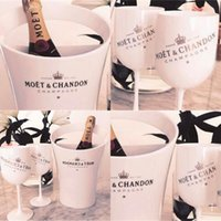 Plastic Material 6 Acrylic Cups And 1 Ice Bucket Set 3000ml Champagne Wines Glasses Wedding Banquet Bar The Wine Bottle Cooler B3