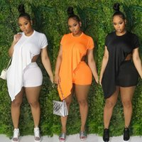Women Casual Tracksuits Summer Outfits Plus Size Solid Short Sleeve Asymmetrical Tops Stretchy Shorts Two 2 Piece Set