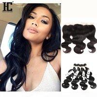 HC 13x4 peruanische volle Spitze-Frontals mit 3 Bündeln Körperwellen-menschlichen Haare mit Frontal 8A peruanisches Reines Haar mit Spitze-Frontalverschluss