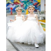 Girl's Dresses Lovely Ivory Tulle Flower Girl High Quality Kids Formal Wear With Straps And Sash Wedding Party Little Gowns