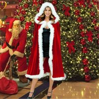 60-90-120-150cm Red Veet Hooded Cape Cloak Sexy Santa Cosplay Christmas Costumes Women Carnival Party Clubwear
