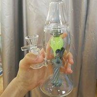 Lampada di lava in vetro Bong 14mm femmina inebriante narghilè narghilè unico bongs 5mm soffiono a soffitto perc perc db rig tuffri verdi tubi di acqua fumando bollenti con ciotola