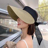 Wide Brim Hats 2021 Women's Summer Visor Cap Versize Straw Bucket Hat Women Bow Fashion Fishing Bob Panama Bone Feminino