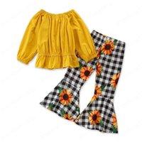 Kleinkind Mädchen Outfits Rüschen Blumenmädchen Gelb Tops Farbschuhe 2 stücke Sets Langarm Kinder Kleidung Set Baby Boutique Kleidung