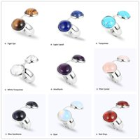 Fashion silver Plated natural stone ring geometry opal white blue Turquoise Tiger eye roae quartz amethyst druzy ring for women jewelry