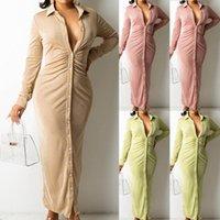 Casual Dresses Women's Dress Long Sleeve Party Button Knitted Ankle-Length V-Neck Skinny Autumn Sexy Women Split Hem Vestido