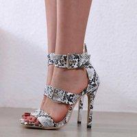 Sagace Woman Sandals Высокие каблуки Женщины Сексуальные Змеиные Узор Партия Ботинки Летние Сандалии Женщины 2020 Подлинная Обувь Открыть Ноги Сандалии H8RW #