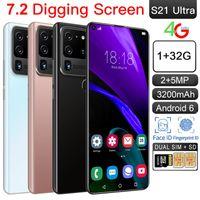 S21USTRA + 19: 9 telefones celulares Android 6.0 1GB + 32GB Face ID 4G Smartphones Quad Núcleo 2.0GHz 7.2 polegada Bluetooth4.0 Liga de alumínio