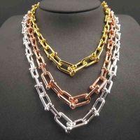 925 Sterling Silber für Frauen Hardwear Serie Abschluss Link Charme U Type Halsketten Luxus Marke TIF Schmuck