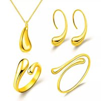 European American Simple Jewelry Sets Water Drop Set Bracelet Earrings Ring Necklace Alloy Four-piece Female Ornaments Gift