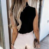 Women's Blouses & Shirts 2021 Summer Women Elegantes Solid Blouse Stand Blusas Mujer De Moda Verano Chiffon 2XLFashionSleeveless G2665