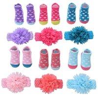 Baby Girls Meias Flower Headbands 2 Pcs Define Dots Dots Meias Recém-nascidos Princesa Infantil Meias Outono Inverno Acessórios Para Bebê 0-12Months