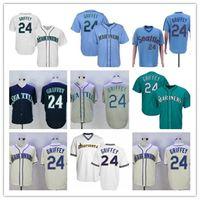 Herrenweinlese Ken Griffey Jr. Teal Baseball Jersey White Beige Grau Blue Navy Stiched S-3XL
