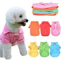 캔디 컬러 애완 동물 티셔츠 강아지 폴로 칼라 개 셔츠 작은 개 고양이 애완 동물 옷 여름 테 디 티셔츠 xs-xl dha4210