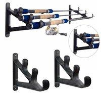 1 par de varas de pesca suporte de parede de armazenamento ferramenta prática rack de pesca para 3 rodas titular de plástico duro PESCA Ferramentas ISCAS
