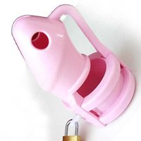 Hacko, Homme Pinic Silicone Chastity Device Cafés Cages Virginity Men's Virginity Lock 3 Penis Bague CB3000 Sexe adulte Jouets M800-PNK Y201118