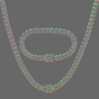 Ohrringe Halskette Amumiu Hip Hop Full Bling CZ Cubic Zirkonia Schmuck Sets Kubanische Kette Link Halsketten Armbänder Box Verschluss Miami Cubra Hztz