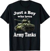 Men's Dress Shirts Just A Boy Who Lov Army S. Sherman M4 Us W T-shirt. Summer Lasting Charm Man T-shirt S-3XL