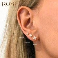 925 스털링 실버 크리스탈 꽃 피어싱 스터드 귀걸이 3 / 4 / 5mm 작은 연골 귀걸이 사랑스러운 지르콘 여자 귀걸이