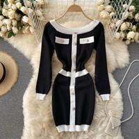 새로운 디자인 여성 패션 섹시한 우아한 싱글 브레스트 패치 워크 긴 소매 슬래시 목 니트 연필 드레스 컬러 블록 짧은 드레스